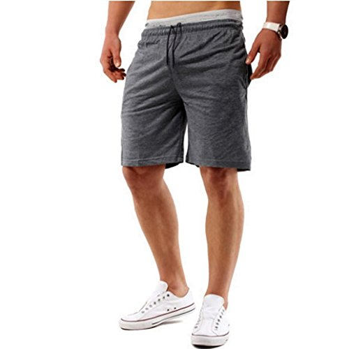 Leedford Men Sports Shorts Fitness Jogging Running Pants Elastic Waist Casual Pants (M, Deep Gray) by Leedford Men's Pants
