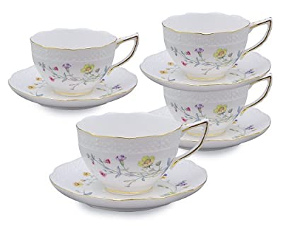 Gracie China Caroline's Wild floral 8-Ounce Porcelain Cup and Saucer, Set of 4