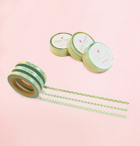 3 Skinny Washi Tape in Gold Foil - The Mint Collection for Planning • Scrapbooking • Arts Crafts • Office • Party Supplies • Gift Wrapping • Colorful Decorative • Masking Tapes • DIY • Japenese Deco from MERYKEEM