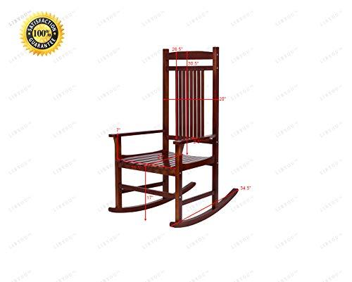 - LIBYOU_Rocker,Wood Porch Rocking Chair,Indoor Outdoor Patio Rocking Chair,Backyard Furniture,Wood Rocking Chair, Porch Rocker, Patio Chair,Garden Backyard Furniture,Patio Backyard Chair