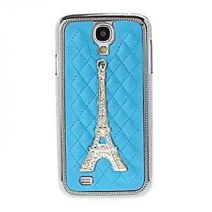 hello Eiffel Tower Pattern Plaid Texture Plating Skinning Case for Samsung Galaxy S4 i9500 , Blue