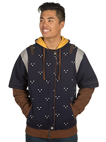 JINX The Witcher 3 Men's Grandmaster Premium Zip-Up Hoodie (Blue/Yellow, Medium) (Witcher 3 Best Witcher Gear)