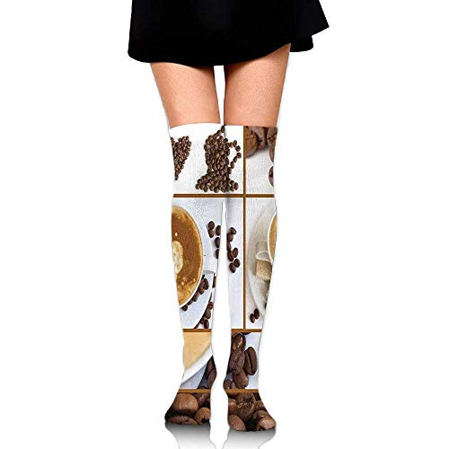 VBTY Coffee Themed Collage Of Beans Mugs Hot Foamy Drink With A Heart Macro Aroma Women Knee High Socks Length 23.6
