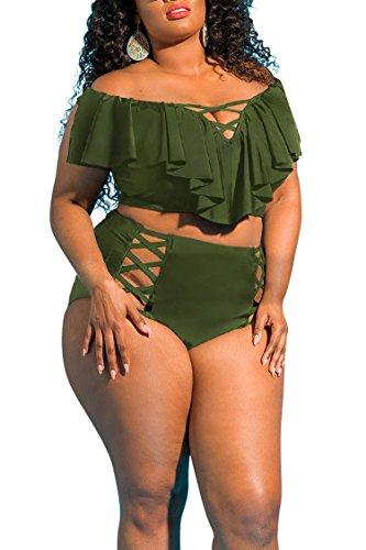 (Viottis Women's Off The Shoulder Ruffle High Waisted Bikini Set Army Green)