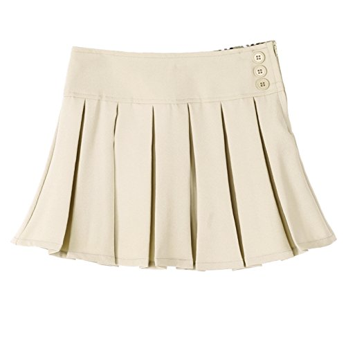 (Bienzoe Girl's Pleated Hem School Uniform Skirt Khaki 6)