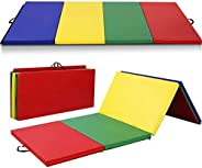 Giantex 4'x8'x2 Gymnastics Mat, Folding Anti-Tear Gymnastics Panel Mats w/Carrying Handles, Hook and L