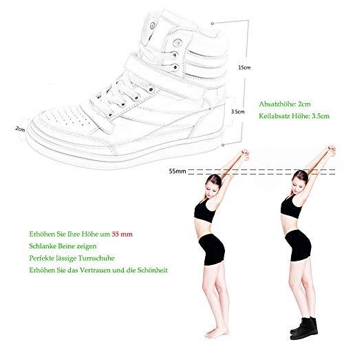 Sport Montante Chaussures Wedge De Respirant Cuir Femmes Casual Bainasiqi Noir 02 Course Compensées Sneakers Baskets fHn8cqt