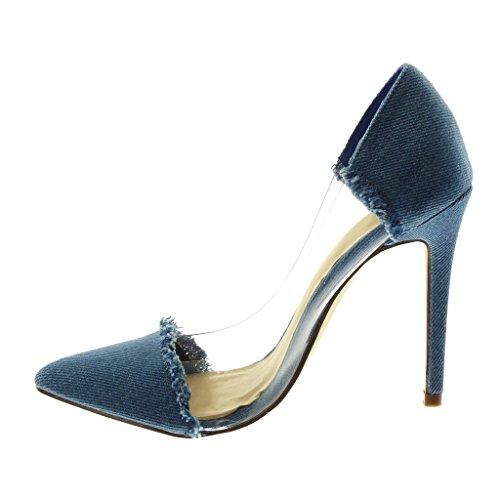 11 on Alto Moda Angkorly Cm Blu Denim Donna Stiletto Jeans Scarpe Con Sfilacciato Tacco Decollete Trasparente Slip qYO56xBOw
