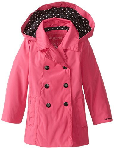 London Fog Little Girls' Toddler Double Breasted Solid, Fuchsia, 3T