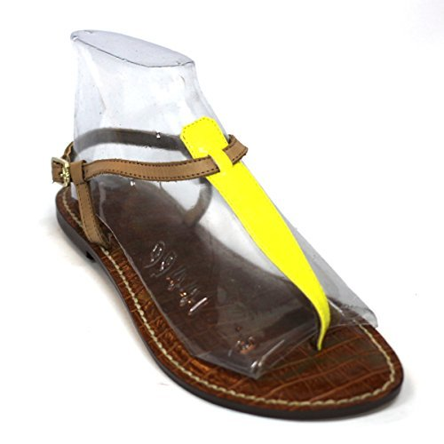 Sam Edelman post-Sandalen, flache Spitze patent Leder, RRP £ 138 Lemon-Brown