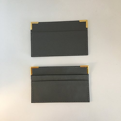 Social Security Card Holder Protector - Leather Cover Case for Business, Hunting Licenses and Certificates - Pack of 2 (Grey) by Thinner (Image #1)