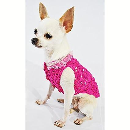 d876029fbdc Pink Dog Clothes Fancy Pet Apparel Crystal Fashion Designer Dog Clothing  Handmade Crochet Cute Puppy Clothes