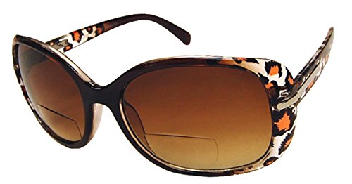 Rodeo i10 Traveler Oversized Shield Style Near-Invisible Line Magnifying Bi Focal Sun Reader Sunglasses (Leopard, - Lightly Prescription Glasses Tinted Non