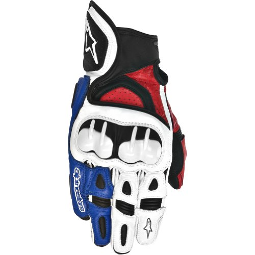 s Leather Street Bike Motorcycle Gloves - White/Red/Blue / Large (Alpinestars Motorcycle Leathers)
