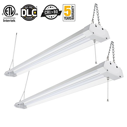 Kohree LED Shop Light for Garage Linkable Utiligty Lighting Integrated Double-Fixture Worklight Basement Workbench Ceiling Light with Pull Chain 4FT 4800 LM 40W 5000K Daylight ETL Certified 2 Packs by Kohree