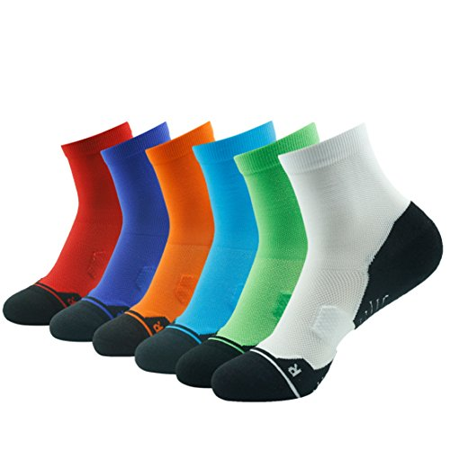 Tennis Arch - Running Socks Arch Support, HUSO Men's Women's Athletic Ultra Performance Ankle Compression Wicking Bike Socks Low Cut 6 Pack