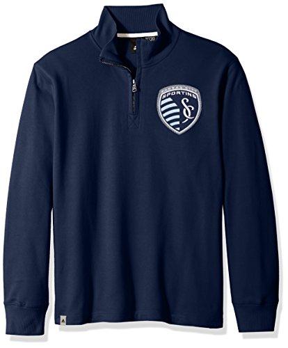 adidas MLS Sporting KC Adult Men MLS Crest Lifestyle 1/4 Zip Pullover, X-Large, Collegiate Navy