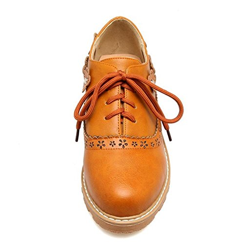 6042 Moda Donna Tacco Brown Yellow TAOFFEN Scarpe Con xq0wAAHI