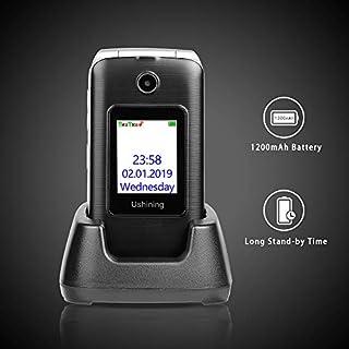 Ushining 3G Unlocked Senior Flip Phone Dual Screen Dual SIM Card T Mobile Flip Phone 2.8 Inch LCD and Large Keypad with Charging Cradle (Black)