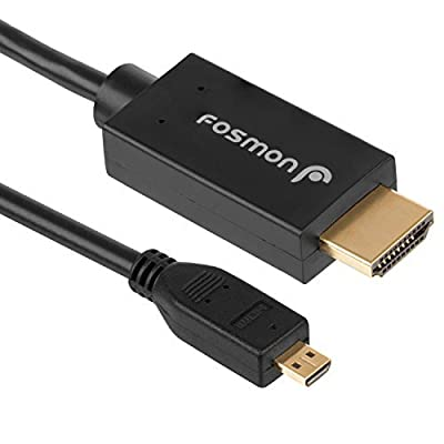 Fosmon High-Speed Micro-HDMI to HDMI Cable - Gold Plated Metal - Supports Ethernet, 3D, and Audio Return