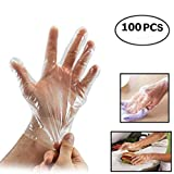 Ericotry 50Pairs(100PCS) Disposable Gloves Transparent Thin Film PE Food Service Gloves With One Size Fits All for Medical And Hairdressing Kitchen Cooking Cleaning Safety Food Handling Gloves