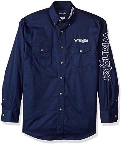 (Wrangler Men's Western Logo Long Sleeve Snap Front Shirt, Navy, L)