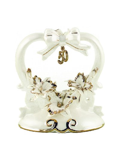 Hortense B. Hewitt Wedding Accessories 50th Anniversary Porcelain Cake Top, 4.5-Inches (Porcelain Wedding Cake Top)
