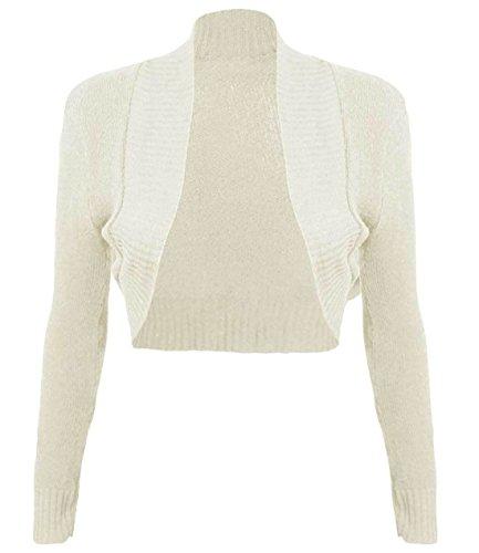 Islander Fashions Damen Langarm Plain Gestrickte Shrug Top Damen Open Front Bolero Crop Cardigan S, M, L Stone