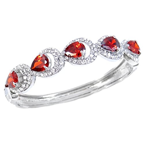 Hollow Hinged Bangle (EVER FAITH Cubic Zirconia Wedding Hollow-out 5 Teardrop Bangle Bracelet Ruby Color Silver-Tone)