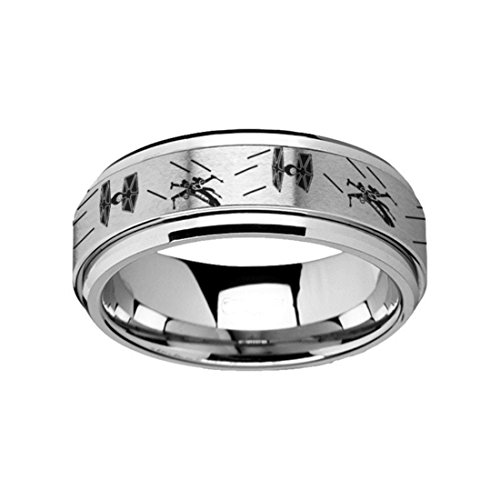 Spinning Engraved Star Wars Tie Fighter X-Wing Design Tungsten Carbide Spinner Wedding Band - 8mm Wide Band Free Engraved Personalized by Thorsten from Roy Rose Jewelry