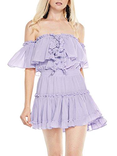Simplee Women's Halter Off Shoulder Pleated Ruffle Chiffon Short Mini Dress, Grayish Purple, M