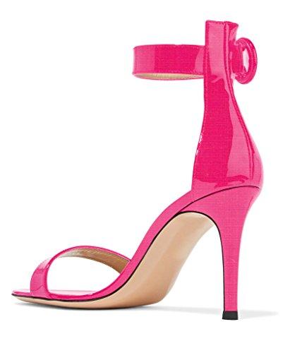 Sandali Con Cinturino Alla Caviglia Con Tacco Alto Da Donna Eldof | Tacchi Alti Classici Aperti | Sandali Estivi Con Chiusura A Fibbia 8 Cm Rosa