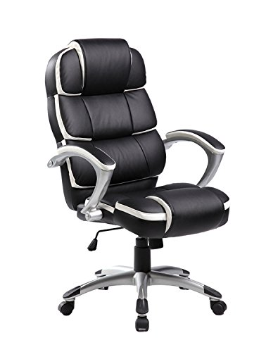 Merax® Office Chair High Back Ergonomics Office Chair Pu Leather Computer Gaming Chair Manager's Chair with Padded Arms, Black and White