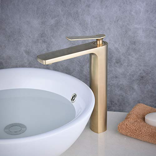 Bathroom Basin Faucet Single Handle Lavatory Faucet Golden Brush Mixer Vessel Sink Faucet, One Hole, Beelee BL6682BGH