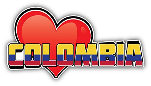 novland Colombia Art Heart Flag Travel Slogan Car Bumper Sticker Decal 6'' X 3''