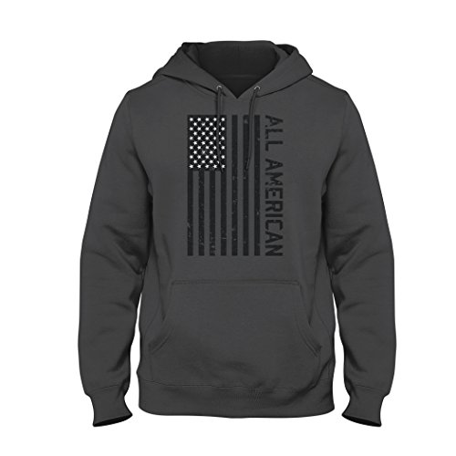 Bang Bang Apparel Men's All American Pullover Hoodie (Large, Charcoal)