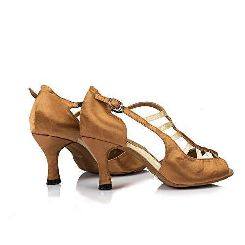 Minitoo Ladies TH046 Custom Make Satin Wedding Ballroom Latin Taogo Dance Sandals Brown JqBZFQKkcX