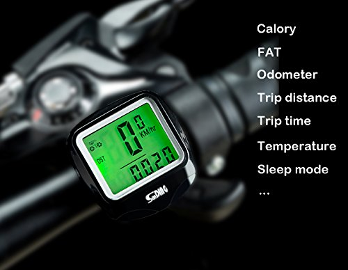 Wired Lcd - Fashion lab Bike Computer Speedometer Wired Waterproof Bicycle Odometer Temperature Display Bicycles Accessories Multi-Function Large LCD Backlight Display Bike Accessories (Black)