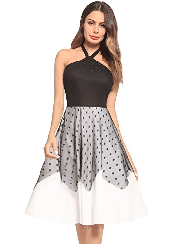Women's Halterneck Bandeau Polka Dots Tulle Backless Off Shoulder Midi Dress Black 2XL - Dot Tulle Dress