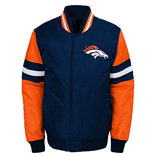 Outerstuff NFL Denver Broncos Youth Boys Legendary Color Blocked Varsity Jacket Dark Navy, Youth Large(14-16)