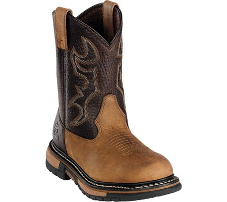 Rocky Kids Boys Bridle Brown Leather Branson Roper Western Cowboy Boots 1 M