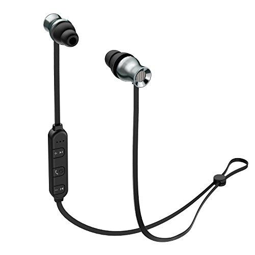 AUKEY In Ear Kopfhörer Bluetooth Headset Sport Kabellos mit Magnet, eigebautem Mikrofon und 3 Tasten Fernbiendung für Smartphones, Tablets, Laptop, PC usw