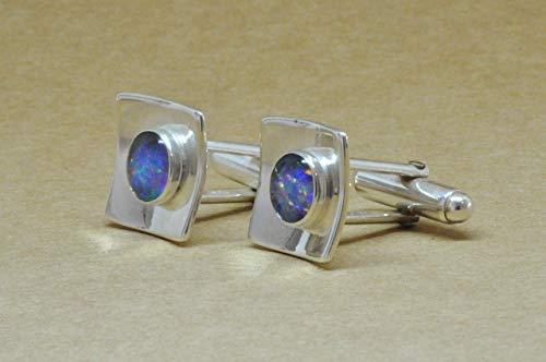 Opal Cufflinks in sterling silver