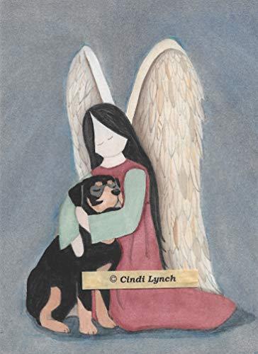 Lynch Rottweiler (rotti) and Angel Folk Art Print
