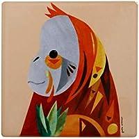 Maxwell & Williams Pete Cromer Wildlife Ceramic Square Coaster, Orangutan Design, 9.5 cm Peach
