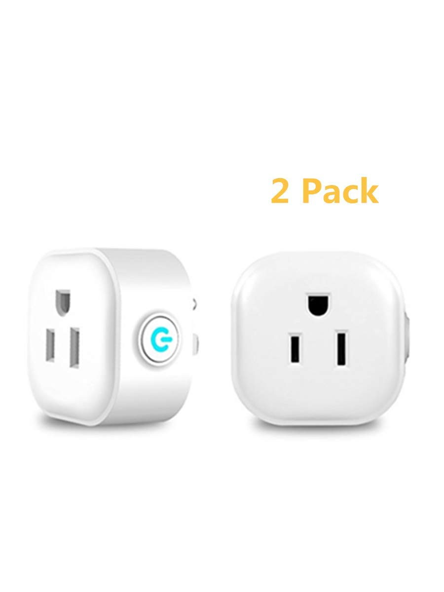 Wi-Fi Smart Plug, Mini Outlets Smart Sockets Compatible with Alexa and Google Assistant, No Hub Required, Remote Control Your Devices from Anywhere-by KaiBodi 2 Pack