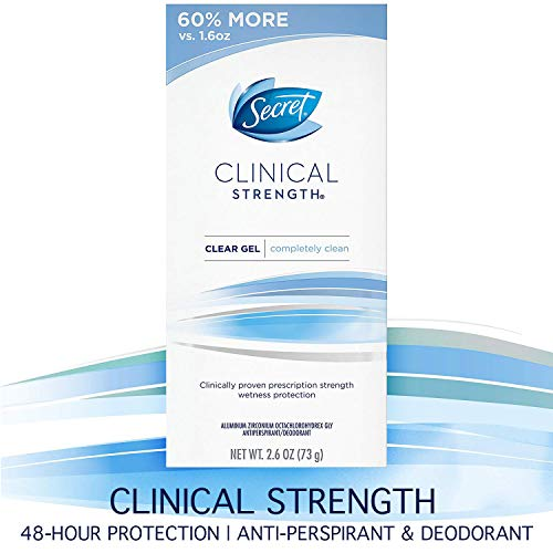 Secret Clinical Strength  Deodorant and Antiperspirant for Women, Clear Gel, Completely Clean, 2.6 Oz.