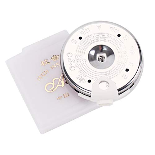 Healifty B702 Top 13 Tone Note Key Chromatic C Pitch Pipe Guitar Tuner Tuning Violin Bass with White Case (Silver)