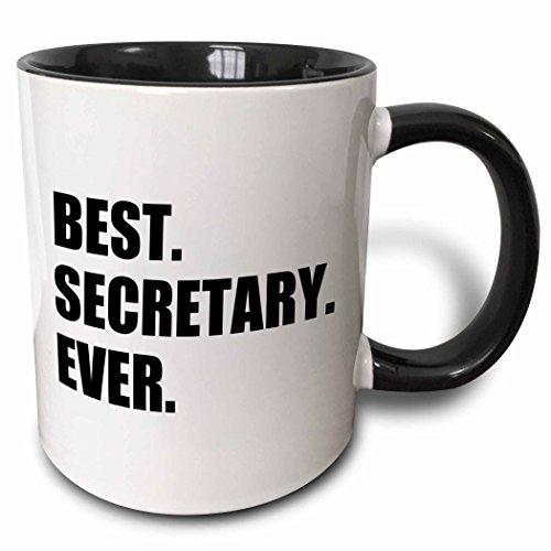 (3dRose InspirationzStore Typography - Best Secretary Ever, fun gift for talented secretaries, black text - 11oz Two-Tone Black Mug (mug_185020_4))