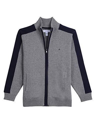 Calvin Klein Big Boys' Full Zip Sweater, Medium Grey Heather, L14/16